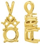A picture of product 3DPR: Heavier 4 Prong Rnd Pendant w/ 3 Accents